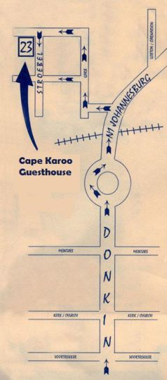 Map Cape Karoo Guesthouse in Beaufort West  Karoo  Western Cape  South Africa