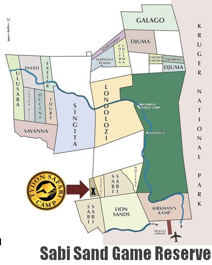 Map Tydon Safari Camp in Sabi Sand  Kruger National Park (MP)  Mpumalanga  South Africa