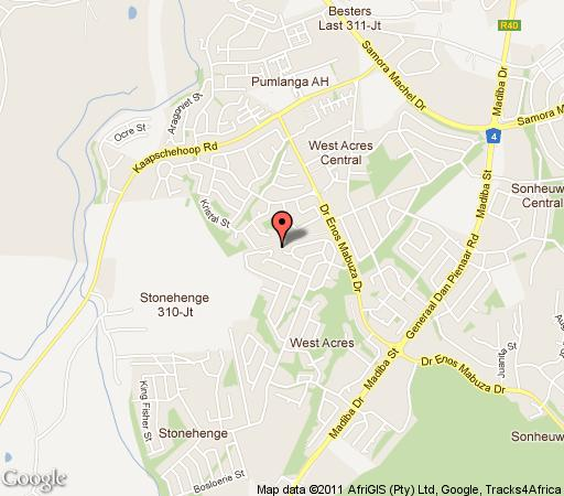 Map Penny Royal Cottage in Nelspruit  Lowveld  Mpumalanga  South Africa