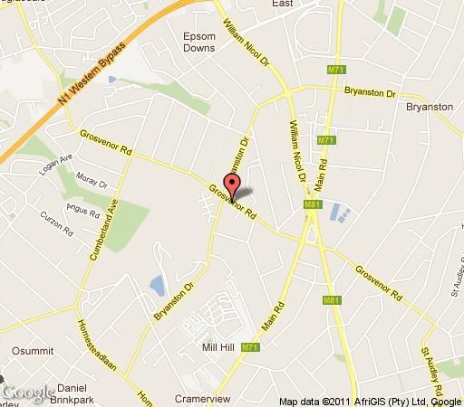 Map Grosvenor Inn in Bryanston  Sandton  Johannesburg  Gauteng  South Africa