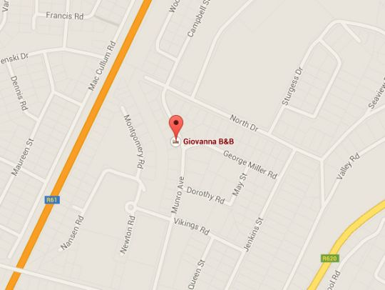 Map Giovanna B&B in Margate  South Coast (KZN)  KwaZulu Natal  South Africa