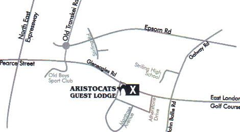 Map Aristocats Guest House in Bunkers Hill  East London  Amatole  Eastern Cape  South Africa