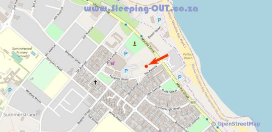 Map Summerstrand Beach Lodge in Summerstrand  Port Elizabeth  Cacadu (Sarah Baartman)  Eastern Cape  South Africa