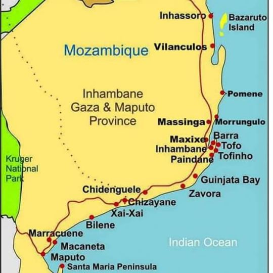 Map Paradise Beach Lodge in Pomene  Inhambane  Mozambique