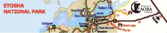 Map Etosha Aoba Lodge in Etosha National Park  Kunene  Namibia