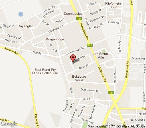 Map Europrime Guest house in Boksburg  Ekurhuleni (East Rand)  Gauteng  South Africa