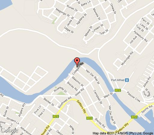 Map Kowie River Guest House in Port Alfred  Cacadu (Sarah Baartman)  Eastern Cape  South Africa