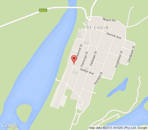 Map Flamingo Holiday Accomadation in St Lucia  Zululand  KwaZulu Natal  South Africa