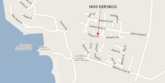 Map Huis Kersbos in Langebaan  West Coast (WC)  Western Cape  South Africa