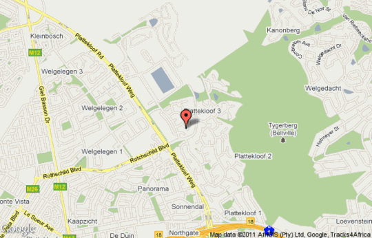 Map Plattekloof Premium Lodge in Plattekloof  Northern Suburbs (CPT)  Cape Town  Western Cape  South Africa