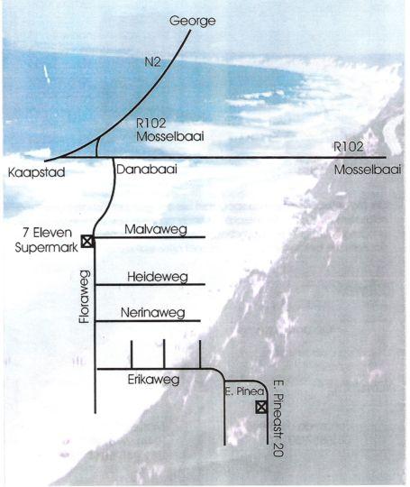 Map Jo-Lien in Dana Bay  Garden Route  Western Cape  South Africa