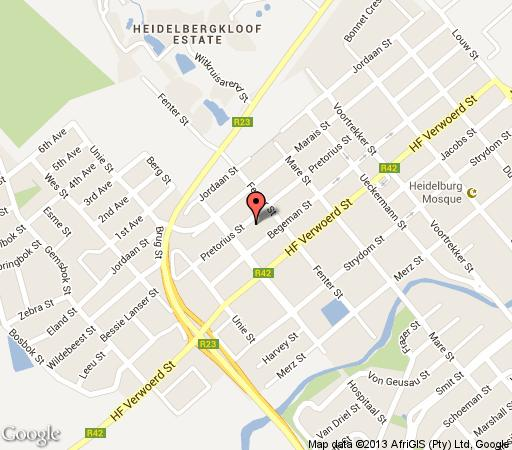 Map Die Dorps - Akker Gastehuis in Heidelberg  Sedibeng District  Gauteng  South Africa