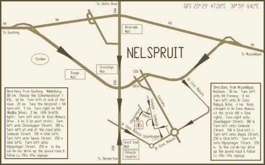Map La Villa Vita  in Nelspruit  Lowveld  Mpumalanga  South Africa