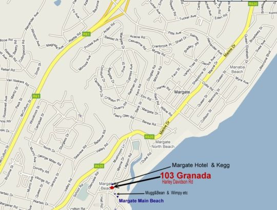 Map Margate-by-the-Sea in Margate  South Coast (KZN)  KwaZulu Natal  South Africa