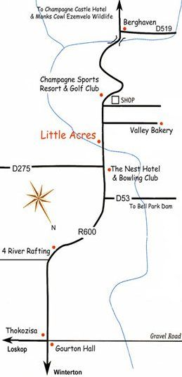 Map Little Acres in Winterton  Central Drakensberg  Drakensberg (KZN)  KwaZulu Natal  South Africa
