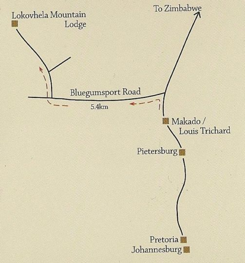 Map Lokovhela Mountain Lodge in Louis Trichardt  Soutpansberg  Limpopo  South Africa