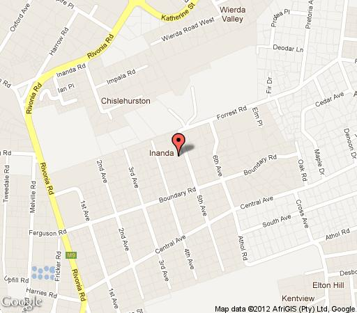 Map Hoeveld House in Inanda  Sandton  Johannesburg  Gauteng  South Africa