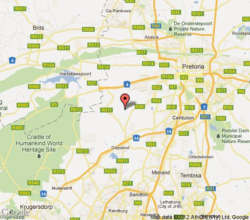 Map Nt\' Shonalanga Guesthouse in Hennops River  Centurion  Pretoria / Tshwane  Gauteng  South Africa
