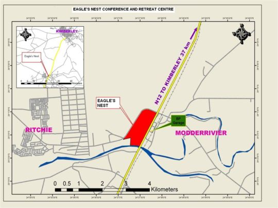 Map Eagle\'s Nest Conference and Restoration Center in Kimberley  Diamond Fields  Northern Cape  South Africa