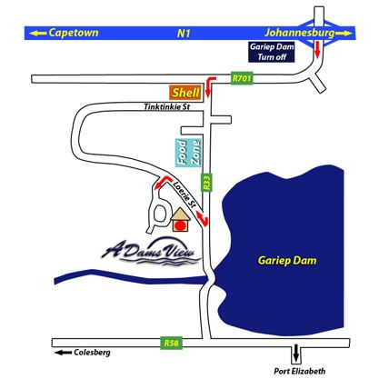 Map Adamsview in Gariep Dam  Xhariep (Southern Free State)  Free State  South Africa