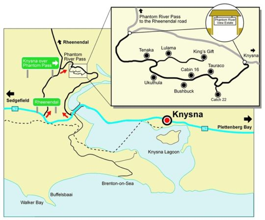 Map Phantom River View in Knysna  Garden Route  Western Cape  South Africa
