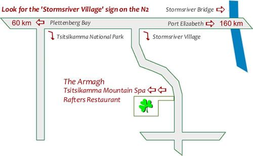 Map Armagh Country Lodge & Spa in Storms River  Tsitsikamma  Garden Route  Western Cape  South Africa