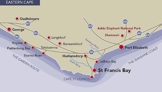 Map Cape St Francis Resort in Cape St. Francis  Cacadu (Sarah Baartman)  Eastern Cape  South Africa