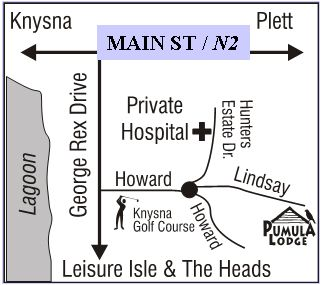 Map Pumula Lodge in Knysna  Garden Route  Western Cape  South Africa