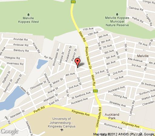 Map 22 On ayr in Melville (JHB)  Northcliff/Rosebank  Johannesburg  Gauteng  South Africa