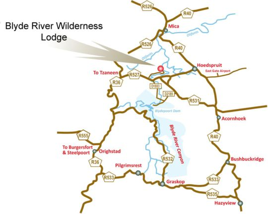 Map Blyde River Wilderness Lodge in Hoedspruit  Valley of the Olifants  Limpopo  South Africa