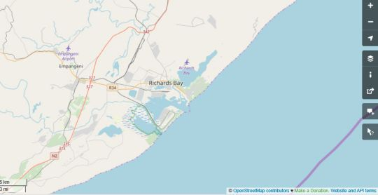 Map Royal Pelican Bed & Breakfast in Richards Bay  Zululand  KwaZulu Natal  Zuid-Afrika
