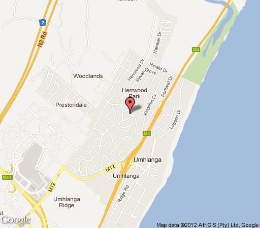 Map Injabulo Guest House in Umhlanga Ridge  Umhlanga  Northern Suburbs (DBN)  Durban and Surrounds  KwaZulu Natal  South Africa