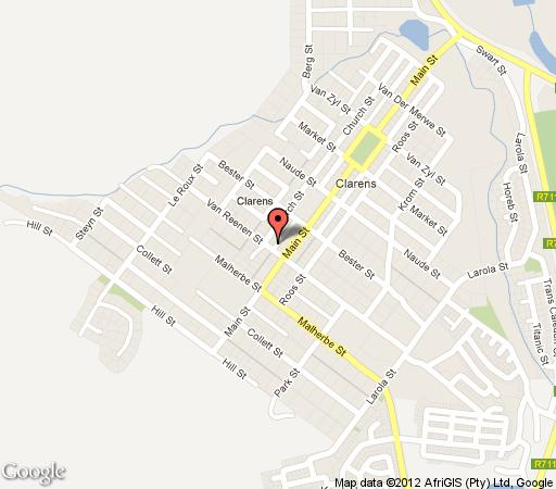 Map Brookeside Self Catering in Clarens  Thabo Mofutsanyana  Free State  South Africa