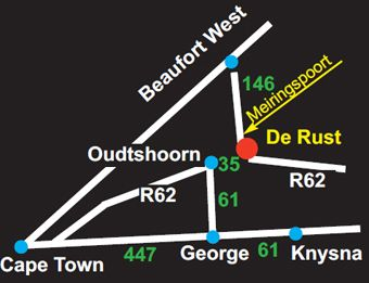 Map De Rust View Guesthouse in De Rust  Klein Karoo  Western Cape  South Africa