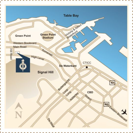 Map Romney Park Hotel in Green Point  Atlantic Seaboard  Cape Town  Western Cape  South Africa