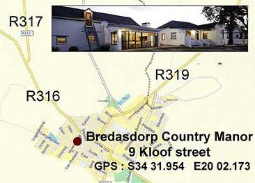 Map Bredasdorp Country Manor in Bredasdorp  Overberg  Western Cape  South Africa