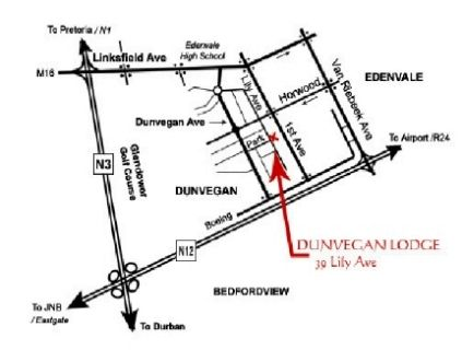Map Dunvegan Execu Lodge in Edenvale  Ekurhuleni (East Rand)  Gauteng  South Africa