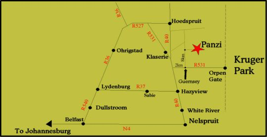 Map Panzi Bush Camp in Hoedspruit  Valley of the Olifants  Limpopo  South Africa