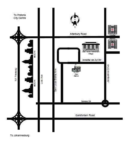Map Glen Marion Guest House & Garden Cottage in Menlyn  Pretoria East  Pretoria / Tshwane  Gauteng  South Africa
