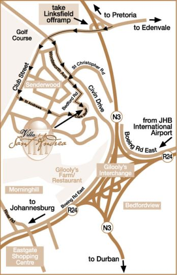 Map Villa Sant Andrea  in Bedfordview  Ekurhuleni (East Rand)  Gauteng  South Africa