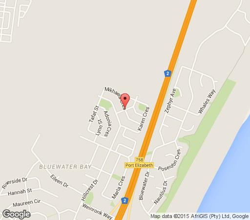 Map Bluewater Bay Inn in Bluewater Bay  Port Elizabeth  Cacadu  Eastern Cape  South Africa