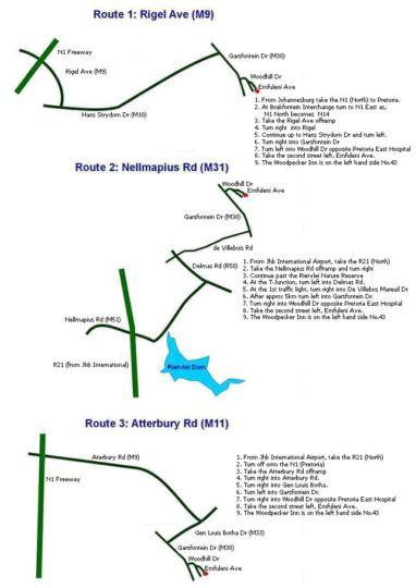 Map The Woodpecker Inn in Pretoriuspark  Pretoria East  Pretoria / Tshwane  Gauteng  South Africa