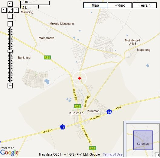 Map Kalahari Hide in Kuruman  Kalahari  Northern Cape  South Africa