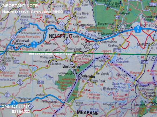 Map Old Coach Road Guest House in Barberton  Lowveld  Mpumalanga  South Africa