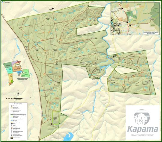 Map Kapama Buffalo Camp in Hoedspruit  Valley of the Olifants  Limpopo  South Africa