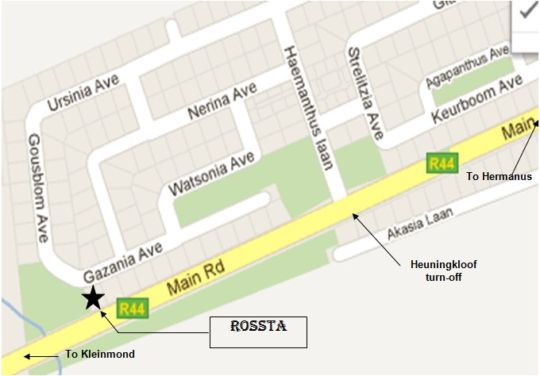 Map Rossta Guest House in Kleinmond  Overberg  Western Cape  South Africa