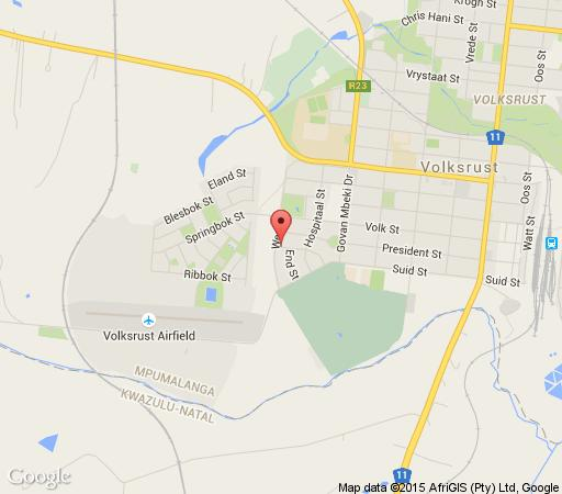 Map Volksrust Guest House in Volksrust  Wetlands  Mpumalanga  South Africa