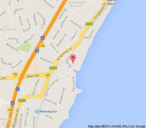 Map Ocean Breeze Cabana 22 & 23 in Warner Beach  South Coast (KZN)  KwaZulu Natal  Südafrika