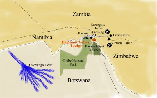 Map Elephant Valley Lodge in Kasane  Botswana
