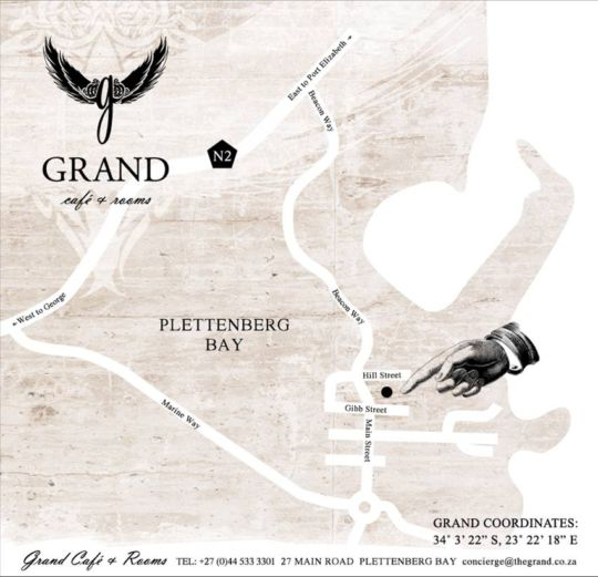 Map Grand Cafe & Rooms in Plettenberg Bay  Garden Route  Western Cape  South Africa